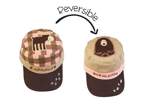 Reversible Kids Cap - Pink Moose / Brown Bear