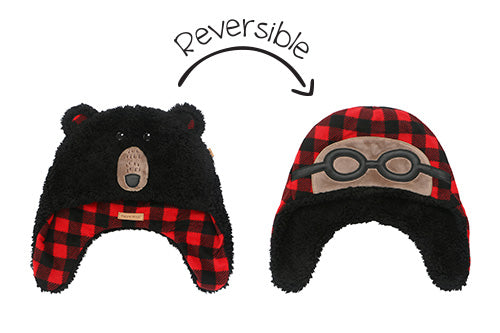 Kids & Baby Reversible Sherpa Hat - Black Bear & Aviator