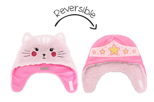 Kids & Baby Reversible Sherpa Hat - Cat & Superhero
