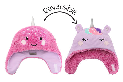 Kids & Baby Reversible Sherpa Hat - Unicorn & Narwhal