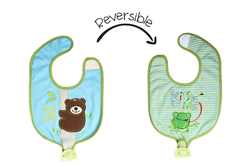 Reversible Soother Bib – Frog | Bear
