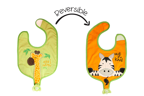 Reversible Soother Bib – Giraffe | Zebra