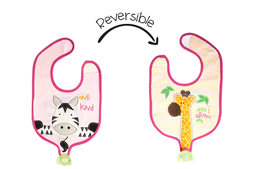 Reversible Soother Bib – Girl Giraffe | Zebra