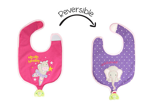 Reversible Soother Bib – Hippo | Elephant