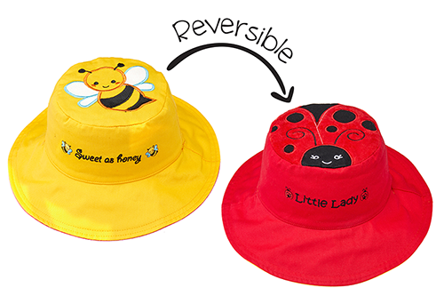 Reversible Kids & Toddler Sun Hat - Bee & Ladybug