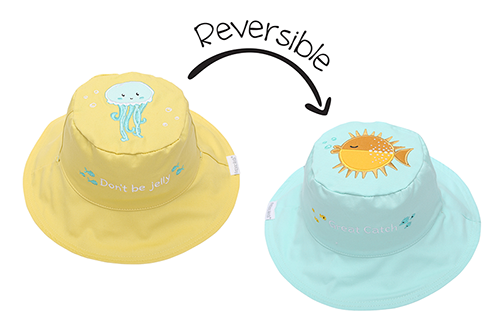 Reversible Baby and Kids Sun Hat - Fish | Jellyfish