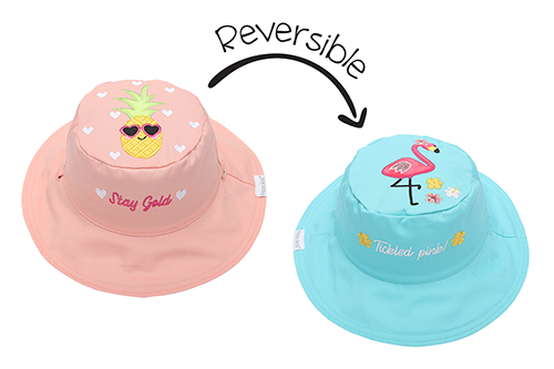 Reversible Baby and Kids Sun Hat - Flamingo | Pineapple