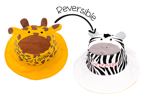 Reversible Kids & Toddler Sun Hat - Giraffe & Zebra