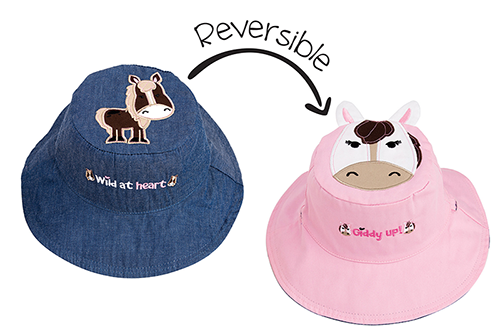 Reversible Kids & Toddler Sun Hat - Pony & Horse