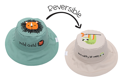 Reversible Baby and Kids Sun Hat - Lion | Sloth