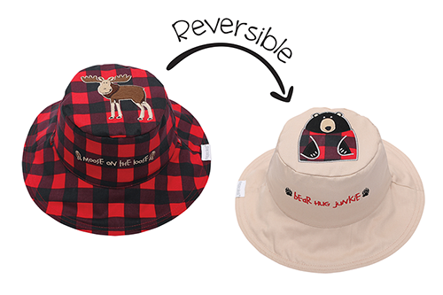 Reversible Baby and Kids Sun Hat - Moose | Black Bear