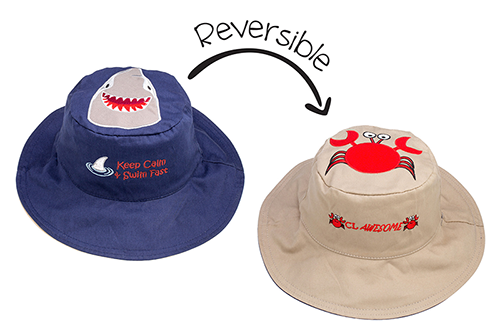 Reversible Kids & Toddler Sun Hat - Shark & Crab