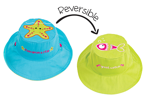 Reversible Kids & Toddler Sun Hat - Starfish & Fish