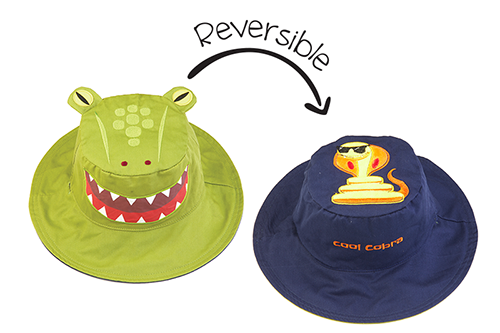 Reversible Kids & Toddler Sun Hat - Alligator & Cobra