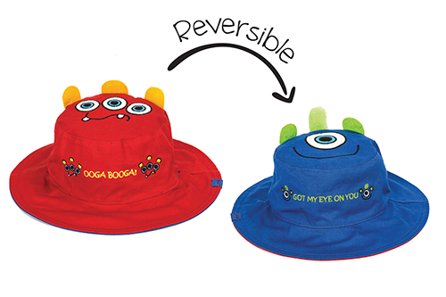 Reversible Kids & Toddler Sun Hat - Monsters