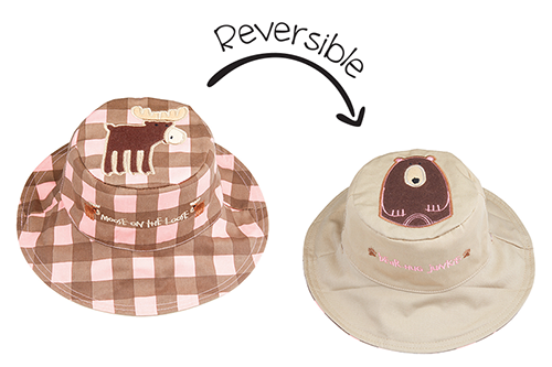 Reversible Kids & Toddler Sun Hat - Pink Moose & Brown Bear
