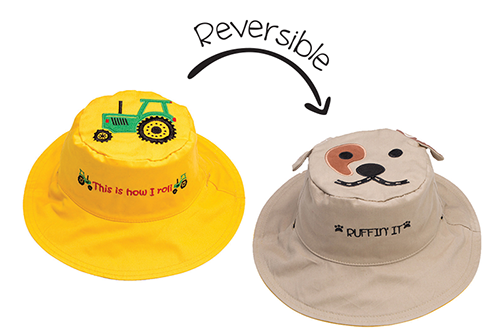 Reversible Kids & Toddler Sun Hat - Tractor & Dog
