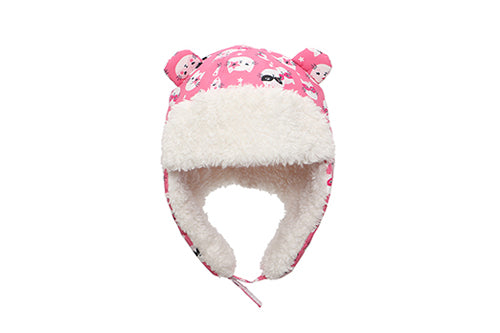 Kids & Baby Water Repellent Trapper Hat - Cat (Pink)