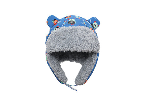 Kids & Baby Water Repellent Trapper Hat - Monsters (Blue)