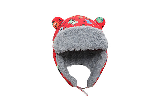 Kids & Baby Water Repellent Trapper Hat - Monsters (Red)