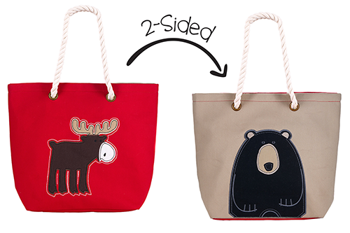 2-Sided Tote - Red Moose | Black Bear