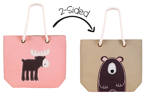 2-Sided Tote - Pink Moose | Brown Bear