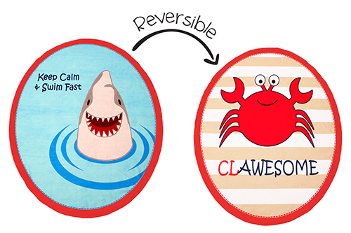 Reversible Kids Towel - Shark / Crab