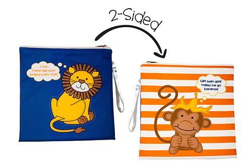 Kids 2-Sided Wet Bag - Lion | Monkey