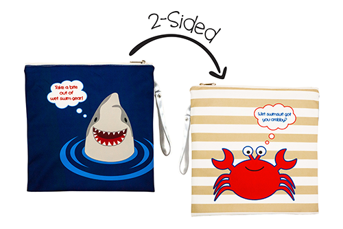 Kids 2-Sided Wet Bag - Shark / Crab