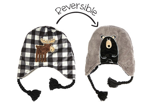 Reversible Kids & Baby Winter Hat - Moose & Black Bear