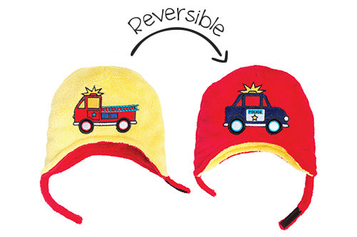 Kids & Baby Reversible Winter Hat - Fire Truck & Police Car