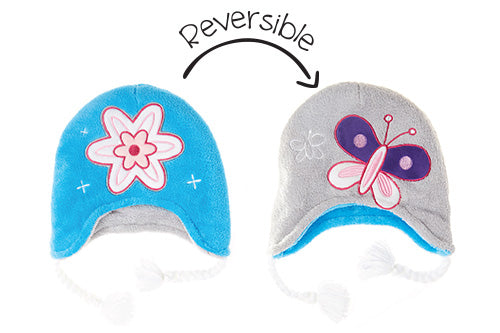 Kids & Baby Reversible Winter Hat - Flower & Butterfly