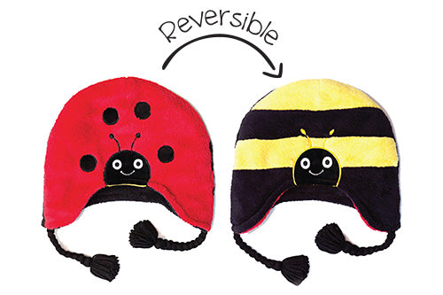Reversible Kids & Baby Winter Hat - Ladybug & Bumble Bee