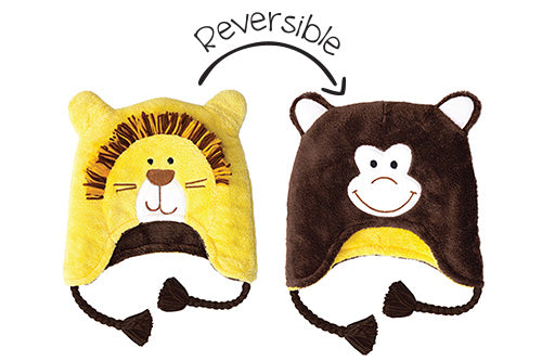Reversible Kids & Baby Winter Hat - Lion & Monkey