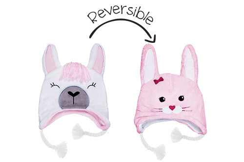 Reversible Kids & Baby Winter Hat - Llama & Bunny