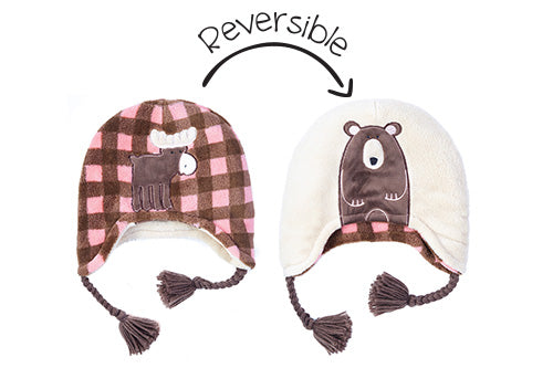 Reversible Kids & Baby Winter Hat - Moose & Brown Bear