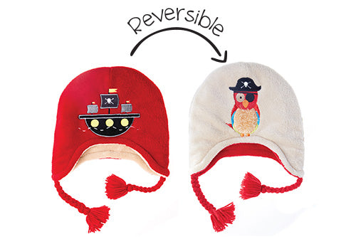 Reversible Kids & Baby Winter Hats - Pirate Ship & Parrot