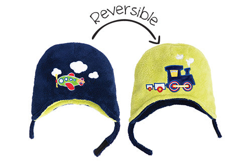 Kids & Baby Reversible Winter Hat - Plane & Train