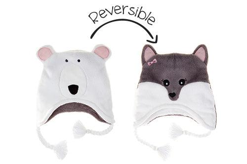 Reversible Kids & Baby Winter Hat - Polar Bear & Arctic Fox