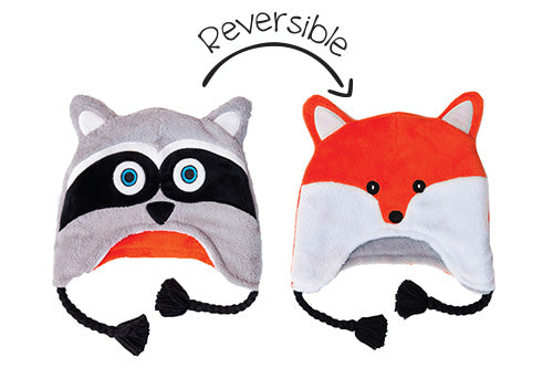 Reversible Kids & Baby Winter Hat - Raccoon & Fox