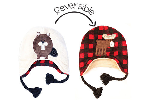 Reversible Kids & Baby Winter Hat - Moose & Beaver