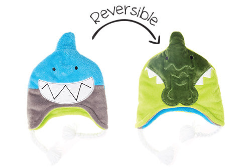 Reversible Kids & Baby Winter Hat - Shark & Alligator