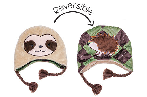 Reversible Kids & Baby Winter Hat - Sloth & Hedgehog