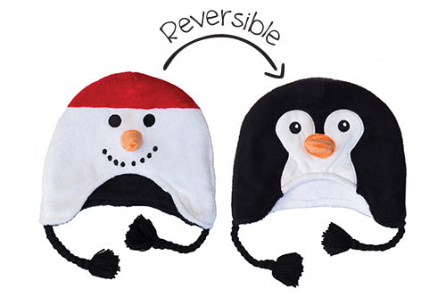 Reversible Kids & Baby Winter Hats - Snowman & Penguin