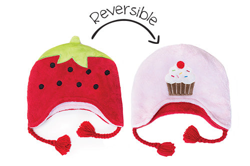 Reversible Kids & Baby Winter Hat - Strawberry & Cupcake