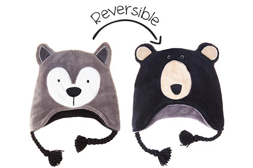 Reversible Kids & Baby Winter Hat - Wolf & Black Bear