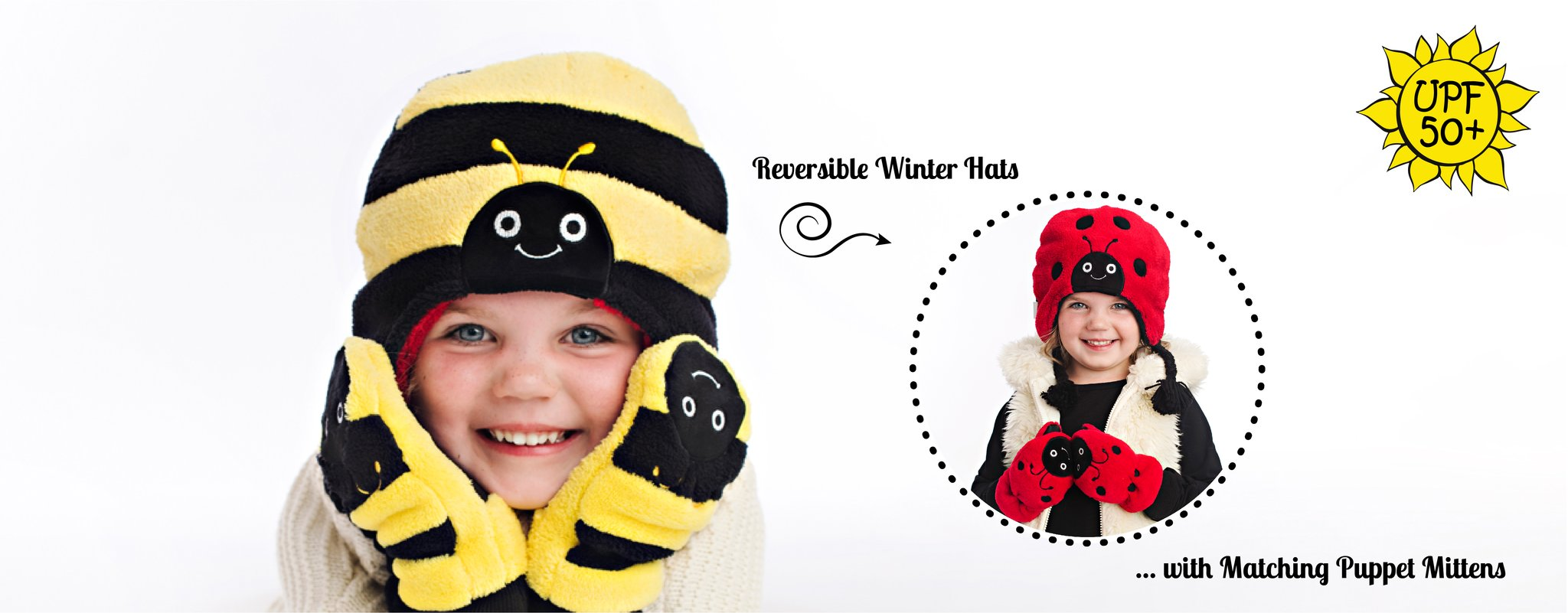 Reversible Winter Hats with matching Puppet Mittens