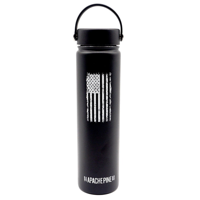 Black American Flag Water Bottle by Apache Pine