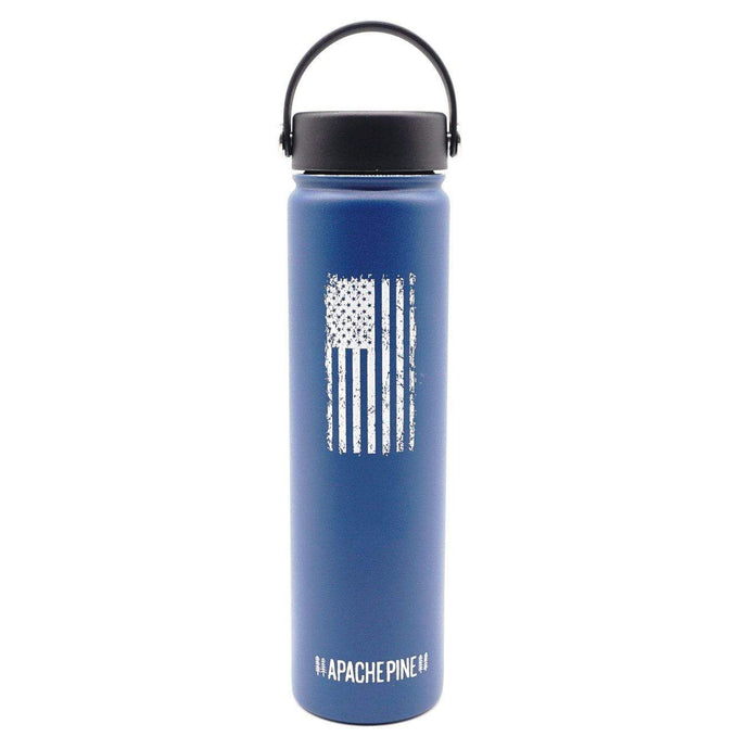 Blue American Flag Water Bottle by Apache Pine