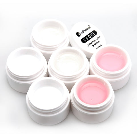 6 pcs Pink White Clear 1/2 Oz. Nail UV Gel Set - Fräulein3°8 - 1